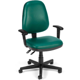OFM Antimicrobial Office Chair with Arms - Vinyl - Mid Back - Green