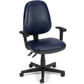 OFM Antimicrobial Office Chair with Arms - Vinyl - Mid Back - Blue