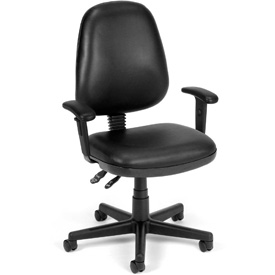 OFM Antimicrobial Office Chair with Arms - Vinyl - Mid Back - Black