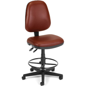 OFM Antimicrobial Stool Without Arms - Vinyl - Burgundy