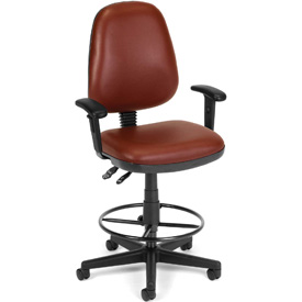 OFM Antimicrobial Stool With Arms - Vinyl - Burgundy