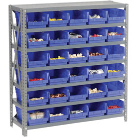 "Steel Shelving with 30 4""H Plastic Shelf Bins Blue, 36x18x39-7 Shelves"