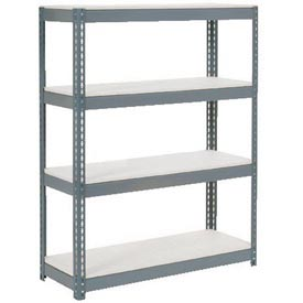 "Extra Heavy Duty Shelving 48""W x 24""D x 60""H Gray With 4 Shelves, 1200 lbs. Capacity Per Shelf"