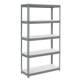 "Extra Heavy Duty Shelving 48""W x 12""D x 60""H With 5 Shelves, 1500 lbs. Capacity Per Shelf, Gray"