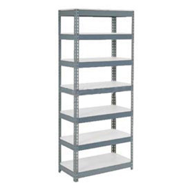 "Extra Heavy Duty Shelving 36""W x 24""D x 96""H With 7 Shelves, 1500 lbs. Capacity Per Shelf, Gray"