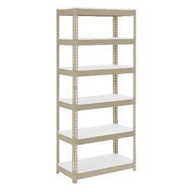 "Extra Heavy Duty Shelving 36""W x 18""D x 60""H With 6 Shelves, 1500 lbs. Capacity Per Shelf, Tan"