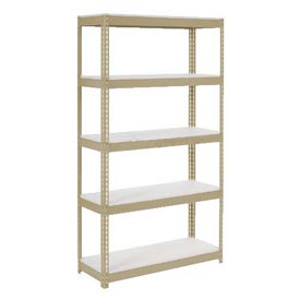 "Extra Heavy Duty Shelving 48""W x 24""D x 84""H With 5 Shelves, 1200 lbs. Capacity Per Shelf, Tan"