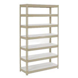 "Extra Heavy Duty Shelving 48""W x 18""D x 84""H With 7 Shelves, 1500 lbs. Capacity Per Shelf, Tan"