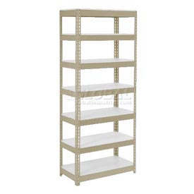 "Extra Heavy Duty Shelving 36""W x 12""D x 96""H With 7 Shelves, 1500 lbs. Capacity Per Shelf, Tan"