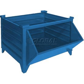 "Topper Stackable Steel Container 51011BHF Solid, Hopper Front, 48""L x 48""W x 24""H, Blue"