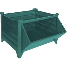 "Topper Stackable Steel Container 51011GHF Solid, Hopper Front, 48""L x 48""W x 24""H, Green"