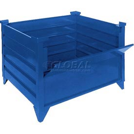 "Topper Stackable Steel Container 51011BDG Solid, Drop Gate, 48""L x 48""W x 24""H, Blue"