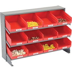 3 Shelf Bench Pick Rack With 12 Red Plastic Shelf Bins 8 Inch Wide 33x12x21
