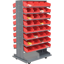 16 Shelf Double-Sided Mobile Pick Rack With 64 Red Plastic Shelf Bins 8 Inch Wide