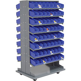 16 Shelf Double-Sided Mobile Pick Rack With 128 Blue Plastic Shelf Bins 4 Inch Wide
