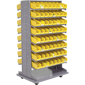 16 Shelf Double-Sided Mobile Pick Rack With 128 Yellow Plastic Shelf Bins 4 Inch Wide