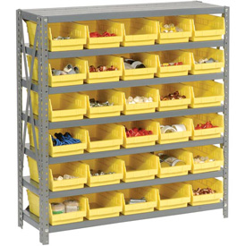 "Steel Shelving with 30 4""H Plastic Shelf Bins Yellow, 36x12x39-7 Shelves"
