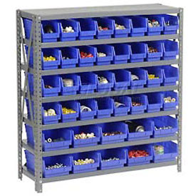 "Steel Shelving with Total 42 4""H Plastic Shelf Bins Blue, 36x12x39-7 Shelves"