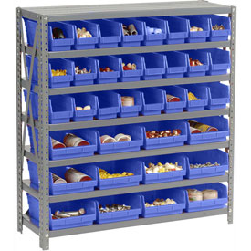 "Steel Shelving with Total 36 4""H Plastic Shelf Bins Blue, 36x12x39-7 Shelves"