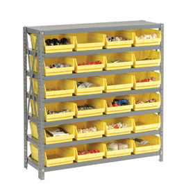 "Steel Shelving with 24 4""H Plastic Shelf Bins Yellow, 36x18x39-7 Shelves"