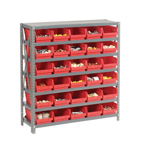 "Steel Shelving with 30 4""H Plastic Shelf Bins Red, 36x18x39-7 Shelves"