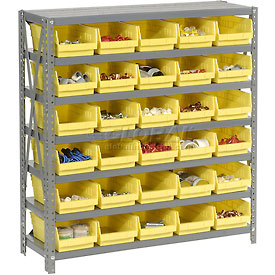 "Steel Shelving with 30 4""H Plastic Shelf Bins Yellow, 36x18x39-7 Shelves"