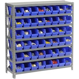 "Steel Shelving with 48 4""H Plastic Shelf Bins Blue, 36x18x39-7 Shelves"