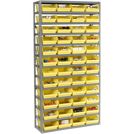"Steel Shelving with 48 4""H Plastic Shelf Bins Yellow, 36x12x72-13 Shelves"