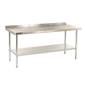 "Aero Manufacturing AS2436 36""W x 24""D 18 Gauge Stainless Steel Workbench W/ Backsplash"