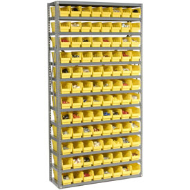"Steel Shelving with 96 4""H Plastic Shelf Bins Yellow, 36x12x72-13 Shelves"