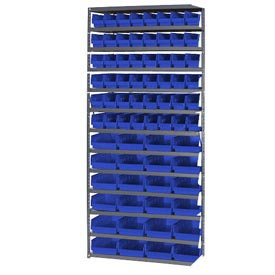 "Steel Shelving with 48 4""H Plastic Shelf Bins Blue, 36x18x72-13 Shelves"