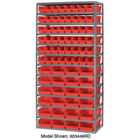 "Steel Shelving with Total 72 4""H Plastic Shelf Bins Red, 36x18x72-13 Shelves"