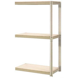 "Expandable Add-On Rack 96""W x 48""D x 84""H Tan With 3 Levels Wood Deck 1100lb Cap Per Level"