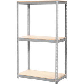 "Expandable Starter Rack 60""W x 24""D x 84""H Gray With 3 Level Wood Deck 1000lb Cap Per Deck"