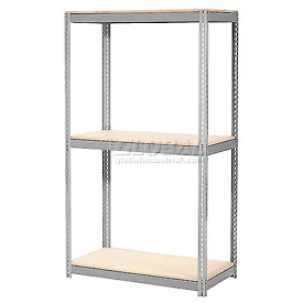 "Expandable Starter Rack 72""W x 36""D x 84""H Gray With 3 Level Wood Deck 750lb Cap Per Level"