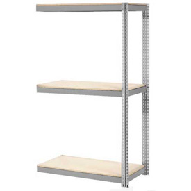 "Expandable Add-On Rack 48""W x 12""D x 84""H Gray With 3 Level Wood Deck 1500lb Cap Per Level"