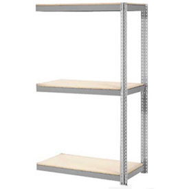 """Expandable Add-On Rack 48""""W x 24""""D x 84""""H Gray With 3 Level Wood Deck 1500lb Cap Per Level"""
