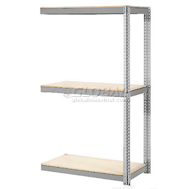 "Expandable Add-On Rack 96""W x 36""D x 84""H Gray With 3 Level Wood Deck 800lb Cap Per Level"