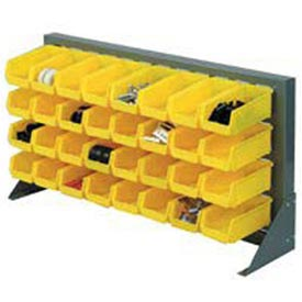 "Louvered Bench Rack 36""W x 20""H With 32 of Yellow Stacking Akrobins"