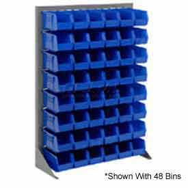 "Singled Sided Louvered Bin Rack 35""W x 15""D x 50""H with 42 of Blue Stacking Akrobins"