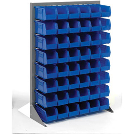"Singled Sided Louvered Bin Rack 35""W x 15""D x 50""H with 48 of Blue Stacking Akrobins"