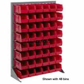 "Singled Sided Louvered Bin Rack 35""W x 15""D x 50""H with 48 of Red Stacking Akrobins"