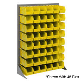 "Singled Sided Louvered Bin Rack 35""W x 15""D x 50""H with 48 of Yellow Stacking Akrobins"