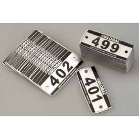 Global™ Locker Number Plate Kit - Pkg Of 200 Numbered 300-499