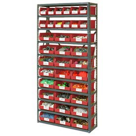 "11 Shelf Open Steel Shelving With 36 Akro Bins 36""X12""X73"""