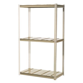 "High Capacity Add-On Rack 96""W x 48""D x 96""H With 3 Levels Steel Deck 800lb Cap Per Leve"