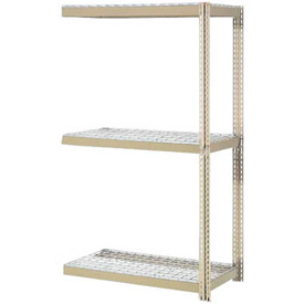 "Expandable Add-On Rack 96""W x 48""D x 84""H Tan With 3 Levels Wire Deck 800lb Cap Per Level"
