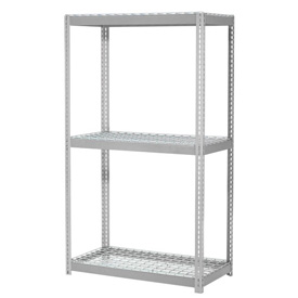 "Expandable Starter Rack 60""W x 48""D x 84""H Gray With 3 Level Wire Deck 1000lb Cap Per Deck"