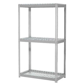 "Expandable Starter Rack 96""W x 24""D x 84""H Gray With 3 Level Wire Deck 1100lb Cap Per Deck"