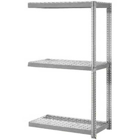 "Expandable Add-On Rack 48""W x 24""D x 84""H Gray With 3 Level Wire Deck 1500lb Cap Per Level"